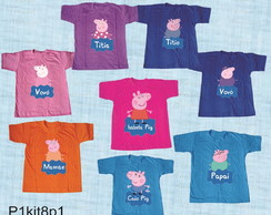 kit 8 Camisetas divertidas peppa