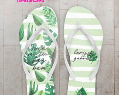 Chinelo 15 Anos Floral Verde