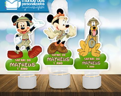 Aplique Tubete Turma do Mickey Safari Personalizado