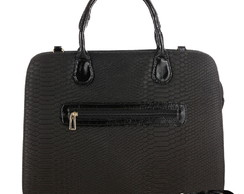 Bolsa Feminina Pasta Executiva Notebook Serpente Preto