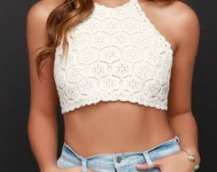 Cropped Top Crochê Flores