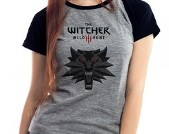 Camiseta The Witcher 3 Lobo Raglan Mescla Babylook
