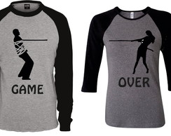 Camiseta Raglan Casal Game Over Kit Com 2