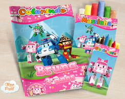 Kit colorir giz massinha Robocar Poli