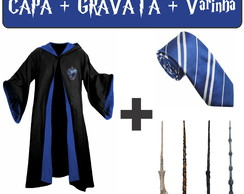 Capa / Manto Corvinal + Gravata + Varinha - Harry Potter