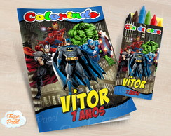 Kit colorir com giz de cera Super Heróis