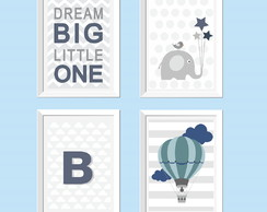 Poster Dream big little one, elefante e balão