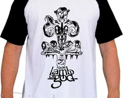 Camiseta Raglan Lamb Of God Banda De Rock Groove Metal