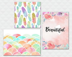 Kit Quadros Decorativos - Beautiful Penas Cores