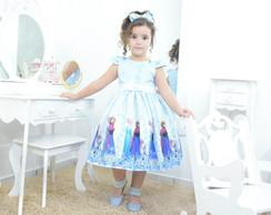 85dc6592b3 ... Vestido infantil festa tema Frozen Elsa e a Anna na cor azul