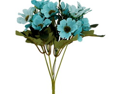 Buque de mini margarida artificial na cor azul tiffany 30 cm