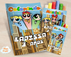 Kit colorir giz massinha As Meninas Superpoderosas
