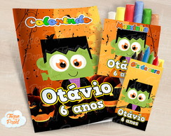 Kit colorir giz massinha Halloween