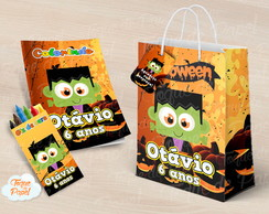 Kit colorir giz sacola Halloween