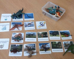 Kit 18 flashcards dinossauros ar, terra e água - montessori