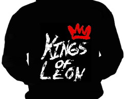 BLUSA MOLETOM KINGS OF LEON CAPUZ BOLSO BANDA MOLETON ROCK