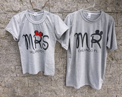 Kit 2 Camisetas Casal Namorados - Mr. e Mrs. disney