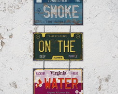 Conj. 3 Placas Decorativas Música Smoke On The Water