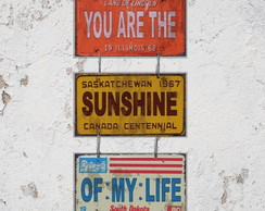 Conjunto 3 Placas Decorativas Música Sunshine