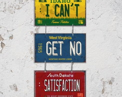 Conj 3 Placas Decorativas I Cant Get No Satisfaction
