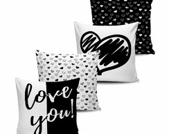 Kit com 4 Almofadas Love You Black White