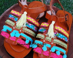 Greek Sandals de couro colorida boho chic