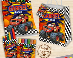Kit Revista, giz, massinha e sacola Blaze Monster Machines