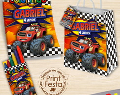 Kit Revistinha, giz e sacola Blaze and Monster Machines