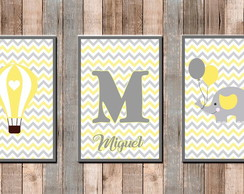 Kit 3 Placas decorativas Infantil Amarelo e Cinza