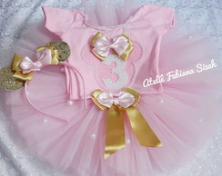 KIT TUTU MINNIE ROSA E DOURADO