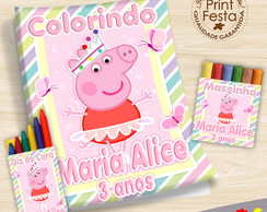 Kit Revistinha, giz e massinha Peppa Pig Bailarina