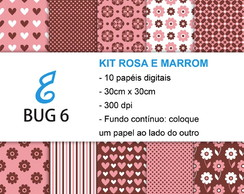 Kit Papel Digital Rosa e Marrom