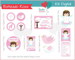 Kit Festa Digital Batizado Rosa