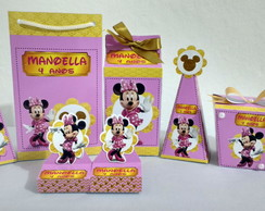Kit Minnie Rosa com Dourado
