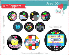 Kit Digital Toppers / Tags Anos 80