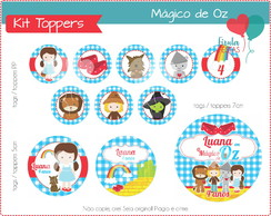 Kit Digital Toppers / Tags Mágico de Oz