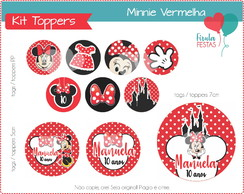 Kit Digital Toppers Minnie Vermelha