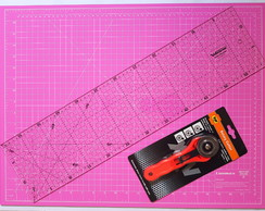 KIT COM BASE DE CORTE ROSA 45X60+CORTADOR 45MM+REGUA 15X60
