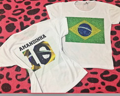 bbc36dba7e ... Baby look - Copa - Bandeira do Brasil + nome costas