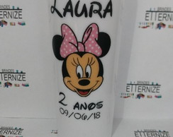 Copo long drink com arte colorida ( Minnie )