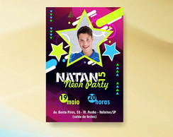 CONVITE TEEN NEON PARTY - ARTE VIRTUAL