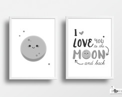 Composição Love you to the moon and back A4 (com moldura)