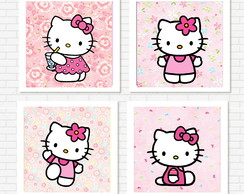 "Kit 4 quadros ""Hallo Kitty"""