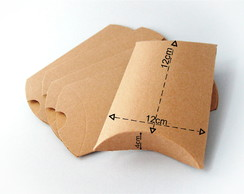 Caixa Presente Pillow (Travesseiro) - Papel Kraft - 12 cm