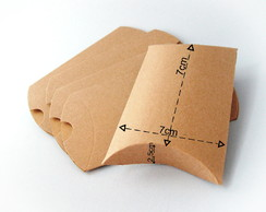 Caixa Presente Pillow (Travesseiro) - Papel Kraft - 7 cm