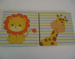 Kit Quadros Decorativos 27x27cm Safari Baby Leao + Girafa