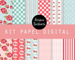 Kit Scrapbook Papel Digital Floral