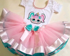 Fantasia Infantil Tutu LOL Surprise Luxo 1-2 anos