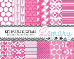 Kit Papeis Digitais Scrapbook Pink REF002