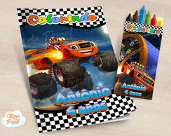Kit colorir com giz de cera Blaze and the monster machine